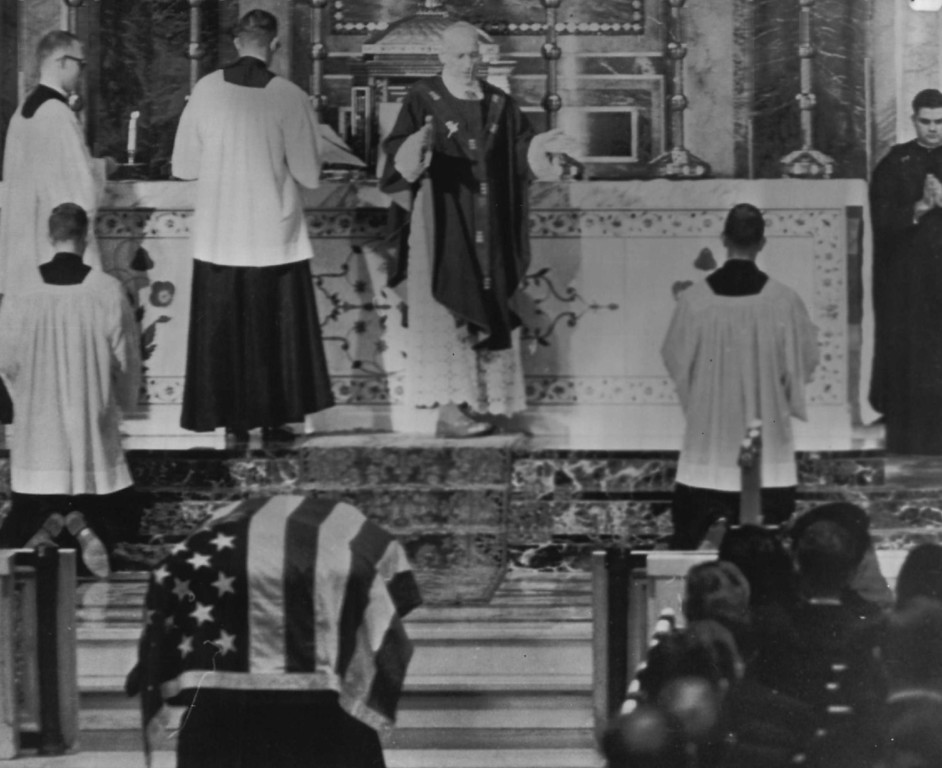 . Archbishop Richard Cardinal Cushing conducts a funeral Mass over Kennedy\'s flag-covered casket in St. Matthew\'s Roman Catholic Cathedral on Nov. 25, 1963.