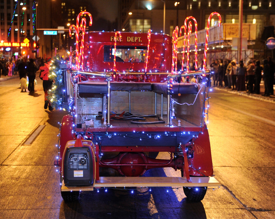 . DENVER, CO. - DECEMBER 06: The city of Blackhawk decorated an antique fire engine for the season as the 9News Parade of Lights kicked off Friday night, December 6, 2013. The weather was clear but temperatures dipped below zero. Photo By Karl Gehring/The Denver Post