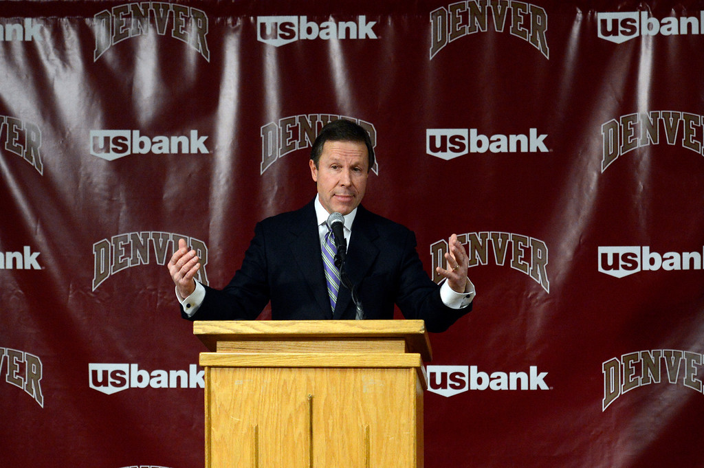 . DENVER, CO. - APRIL 2: Former DU hockey coach George Gwozdecky addresses the media at a news conference April 2, 2013 at Magnuss Arena. Gwozdecky was on hand to discuss the school firing him on Monday. This ends his Pioneers coaching tenure at 19 seasons. (Photo By John Leyba/The Denver Post)