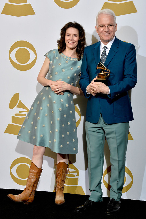 ". Edie Brickell & Steve Martin, winners of Best American Roots Song for ""Love Has Come For You\""  pose in the press room during the 56th GRAMMY Awards at Staples Center on January 26, 2014 in Los Angeles, California.  (Photo by Frazer Harrison/Getty Images)"