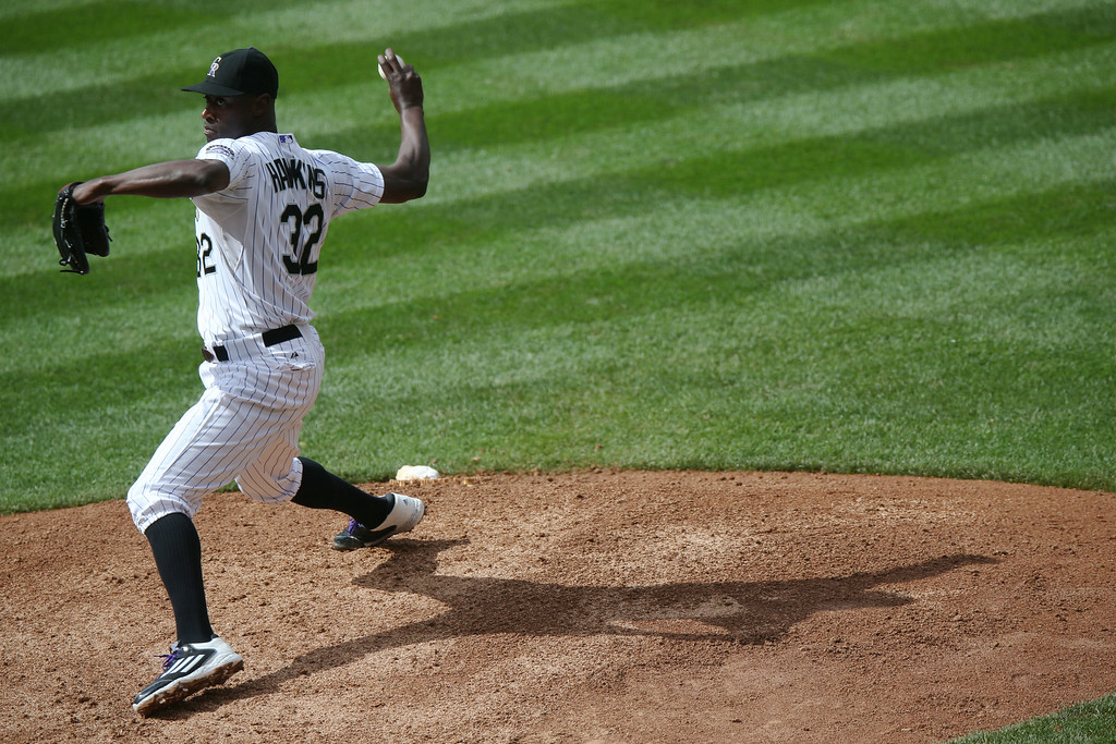 . Colorado Rockies relief pitcher LaTroy Hawkins works against the Washington Nationals in the ninth inning of the Rockies\' 6-4 victory in a baseball game in Denver on Wednesday, July 23, 2014. (AP Photo)