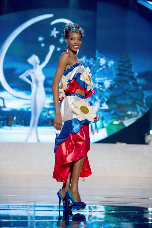 . Miss Haiti Christela Jacques performs onstage at the 2012 Miss Universe National Costume Show at PH Live in Las Vegas, Nevada December 14, 2012. The 89 Miss Universe contestants will compete for the Diamond Nexus Crown on December 19, 2012. REUTERS/Darren Decker/Miss Universe Organization L.P./Handout