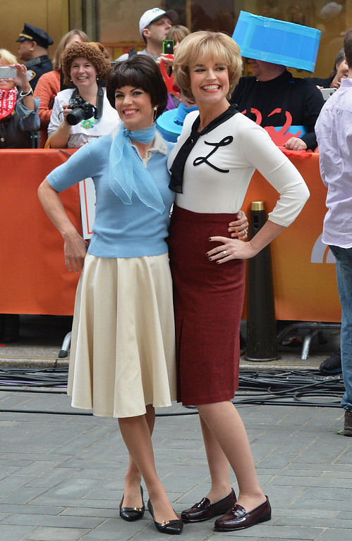 """. Natalie Morales (L) and Savannah Guthrie attend NBC\'s \""""Today\"""" Halloween 2013 in Rockefeller Plaza on October 31, 2013 in New York City.  (Photo by Slaven Vlasic/Getty Images)"""