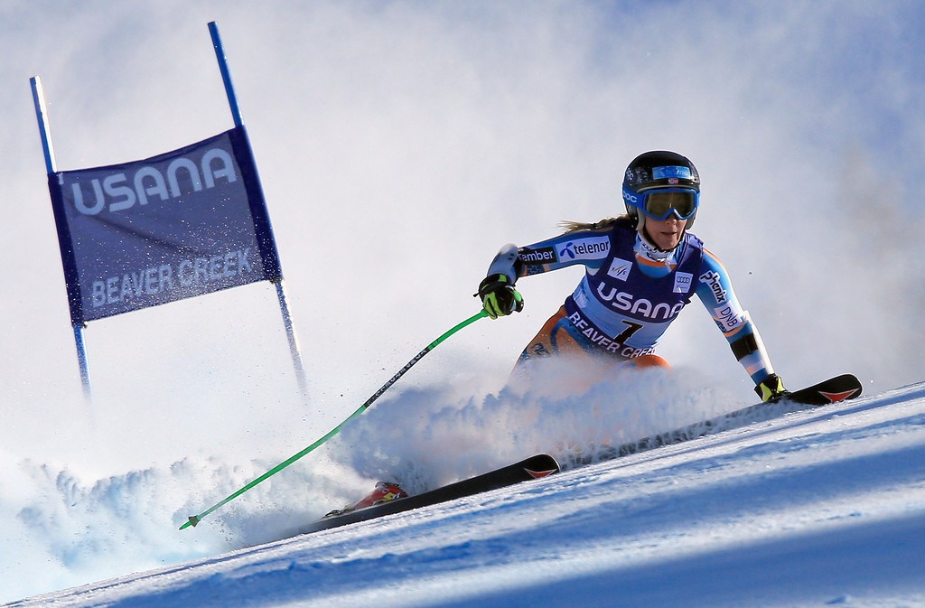 . Lotte Smiseth Sejersted of Norway skis to 10th place in the ladies\' Super G on Raptor at the Audi FIS Ski World Cup at Beaver Creek on November 30, 2013 in Beaver Creek, Colorado.  (Photo by Doug Pensinger/Getty Images)