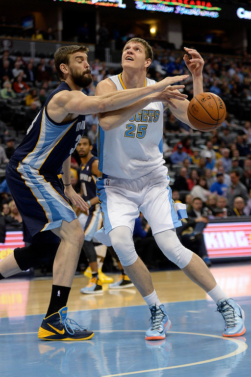 . Memphis Grizzlies center Marc Gasol (33) pokes the ball away from Denver Nuggets center Timofey Mozgov (25) during the first quarter. (Photo by AAron Ontiveroz/The Denver Post)