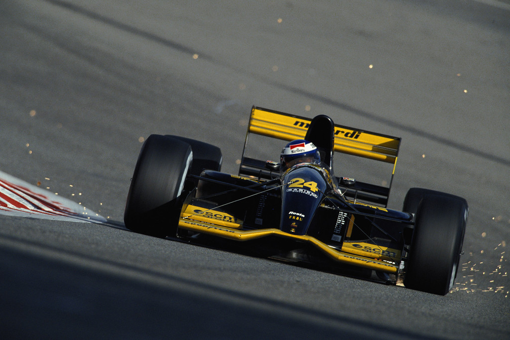 . Sparks fly as Gianni Morbidelli drives the #24 Minardi Team Minardi M192 Lamborghini 3.5 V12  during the Belgian Grand Prix on 30th August 1992 at the Circuit National de Francorchamps in Spa Francorchamps, Belgium.(Photo by Pascal Rondeau/Getty Images)