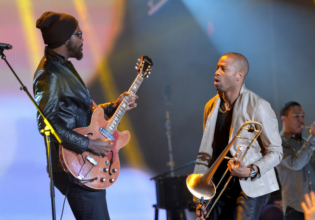 . Musicians Gary Clark, Jr. (L) and Trombone Shorty perform onstage at the 63rd NBA All-Star Game 2014 at the Smoothie King Center on February 16, 2014 in New Orleans, Louisiana.  (Photo by Mike Coppola/Getty Images)