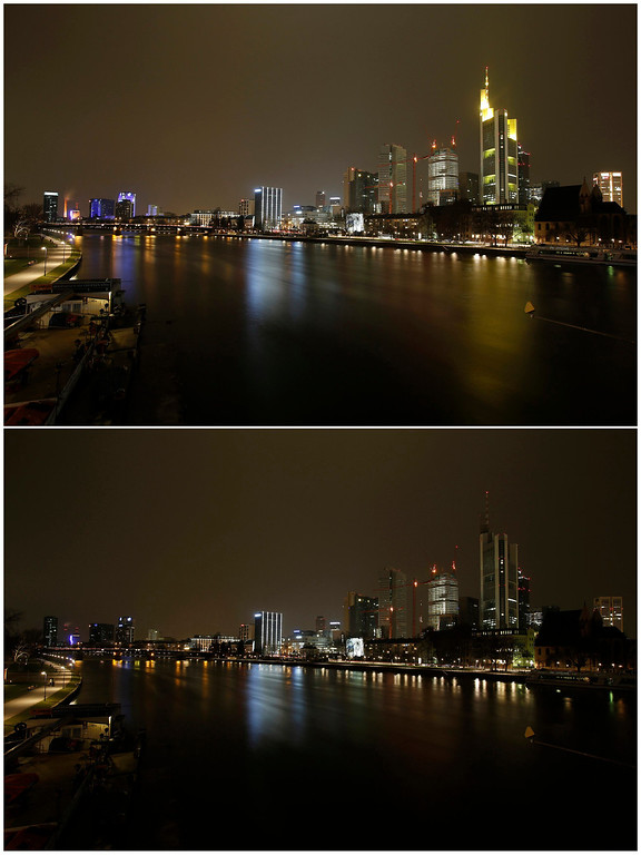. A combination picture shows the city skyline of Frankfurt on the banks of Main river before (top) Earth Hour and during Earth Hour in Frankfurt March 23, 2013. Earth Hour, when everyone around the world is asked to turn off lights for an hour from 8.30pm local time, is meant as a show of support for action to confront climate change. REUTERS/Lisi Niesner