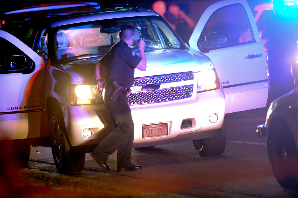 . Denver Police investigated a shooting that occurred at Red Rocks Amphitheater Thursday night, June 19, 2014.  Photo by Karl Gehring/The Denver Post