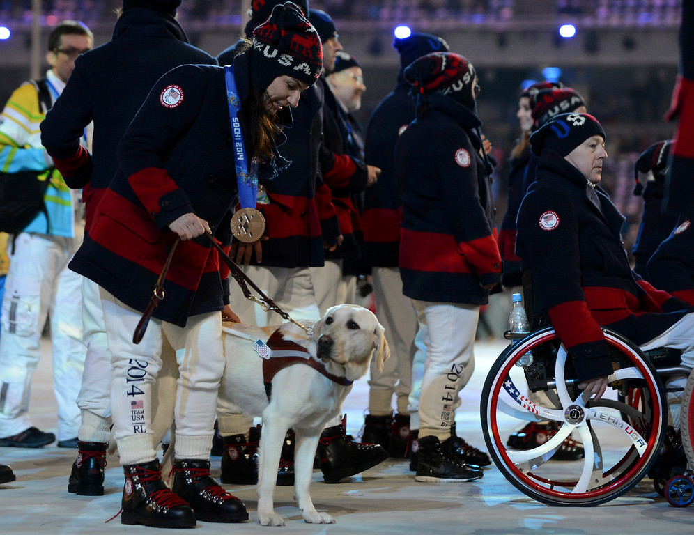 . The United States\' delegation attends the Closing Ceremony of XI Paralympic Olympic games at the Fisht Olympic Stadium near the city of Sochi on March 16, 2014.  KIRILL KUDRYAVTSEV/AFP/Getty Images