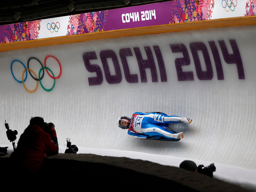 . Sandra Gasparini of Italy in action during the Women\'s Singles Luge competition at the Sanki Sliding Center at the Sochi 2014 Olympic Games, Krasnaya Polyana, Russia, 10 February 2014.  EPA/VALDRIN XHEMAJ
