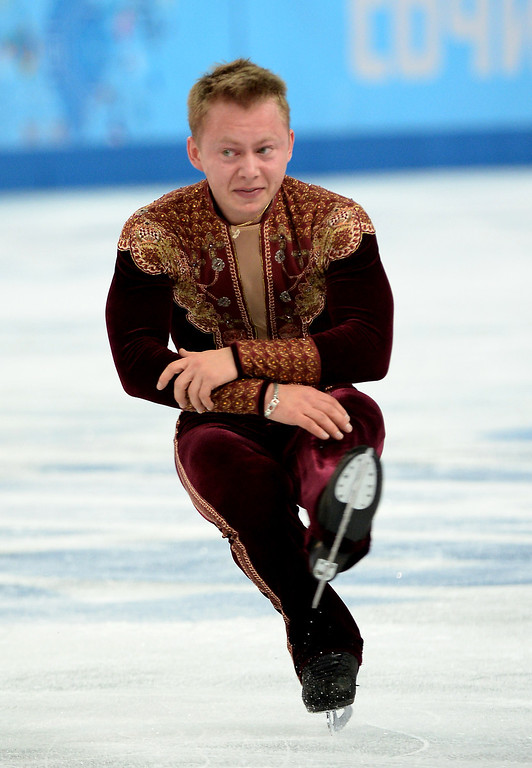 . Sweden\'s Alexander Majorov performs during the Men\'s Figure Skating Short Program at the Iceberg Skating Palace during the Sochi Winter Olympics on February 13, 2014. JUNG YEON-JE/AFP/Getty Images