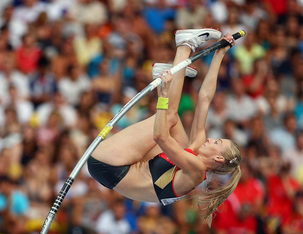 . Lisa Ryzih of Germany competes in the Women\'s Pole Vault qualification during Day Two of the 14th IAAF World Athletics Championships Moscow 2013 at Luzhniki Stadium on August 11, 2013 in Moscow, Russia.  (Photo by Cameron Spencer/Getty Images)
