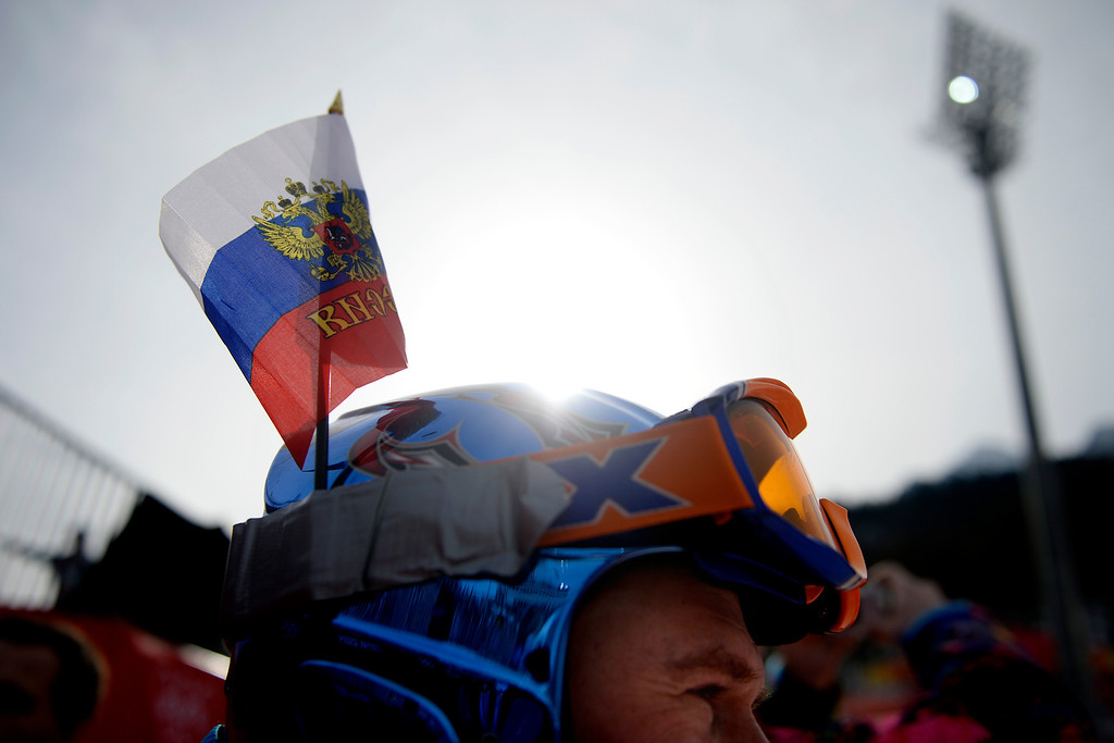 . ROSA KHUTOR, RUSSIA - FEBRUARY 09: Russian fan Sergey Korvyakov watches the action during men\'s ski downhill final. Sochi 2014 Winter Olympics at the Rosa Khutor Etreme Park on Sunday, February 9, 2014. (Photo by AAron Ontiveroz/The Denver Post)