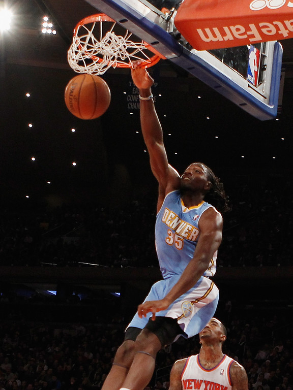 . Kenneth Faried #35 of the Denver Nuggets scores two in the second quarter against the New York Knicks at Madison Square Garden on December 9, 2012 in New York City.  (Photo by Bruce Bennett/Getty Images)