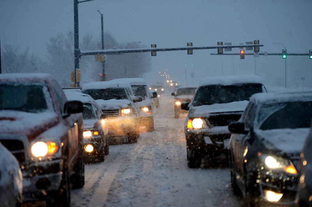 . A day long snowfall in Arvada caused problems for drivers on Wadsworth Blvd this afternoon  April 15, 2013 Arvada, Colorado. (Photo By Joe Amon/The Denver Post)