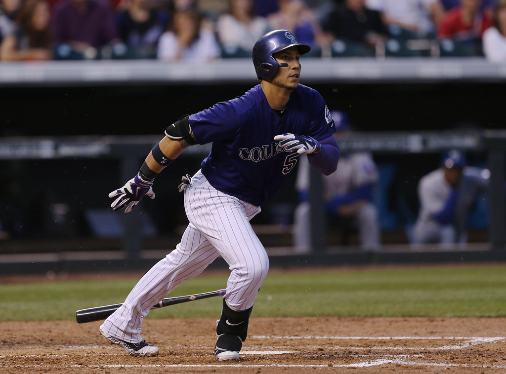 . Colorado Rockies\' Carlos Gonzalez grounds out to drive in a run against the Texas Rangers in the third inning of an interleague baseball game in Denver on Monday, May 5, 2014. (AP Photo/David Zalubowski)
