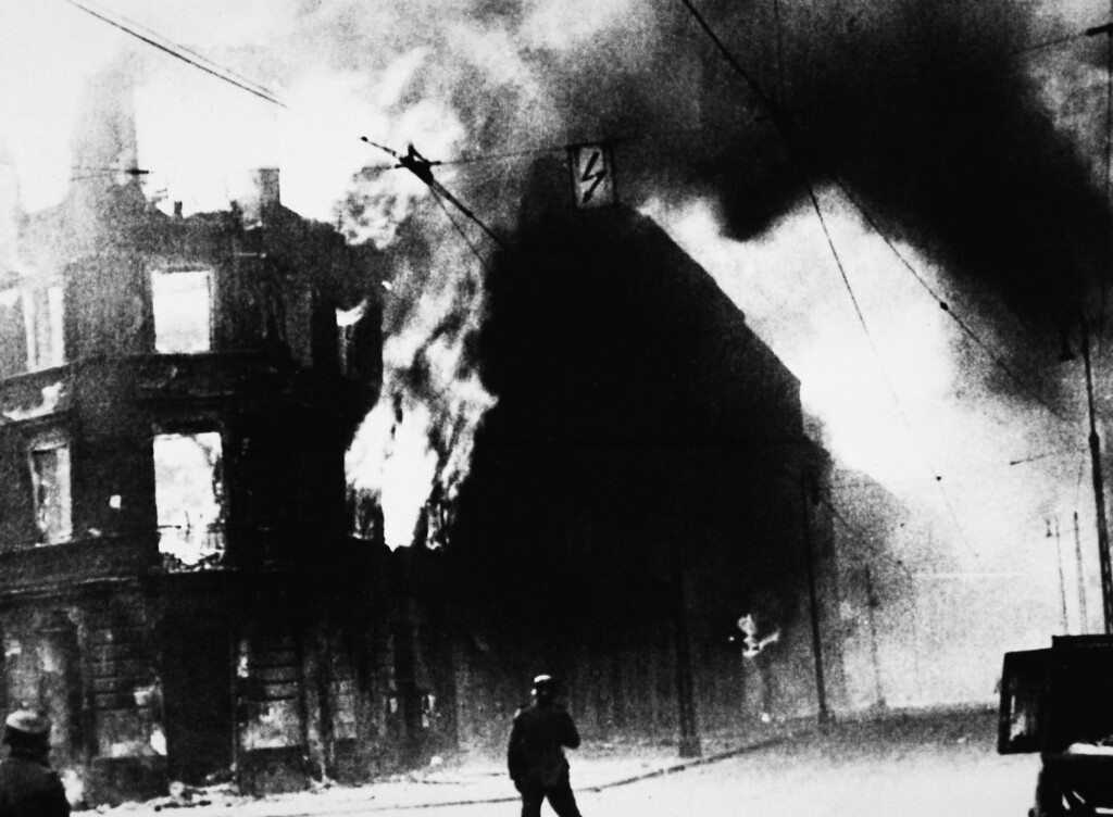 . The Warsaw Ghetto shown on fire in this undated photo, Warsaw, Poland. (AP Photo)