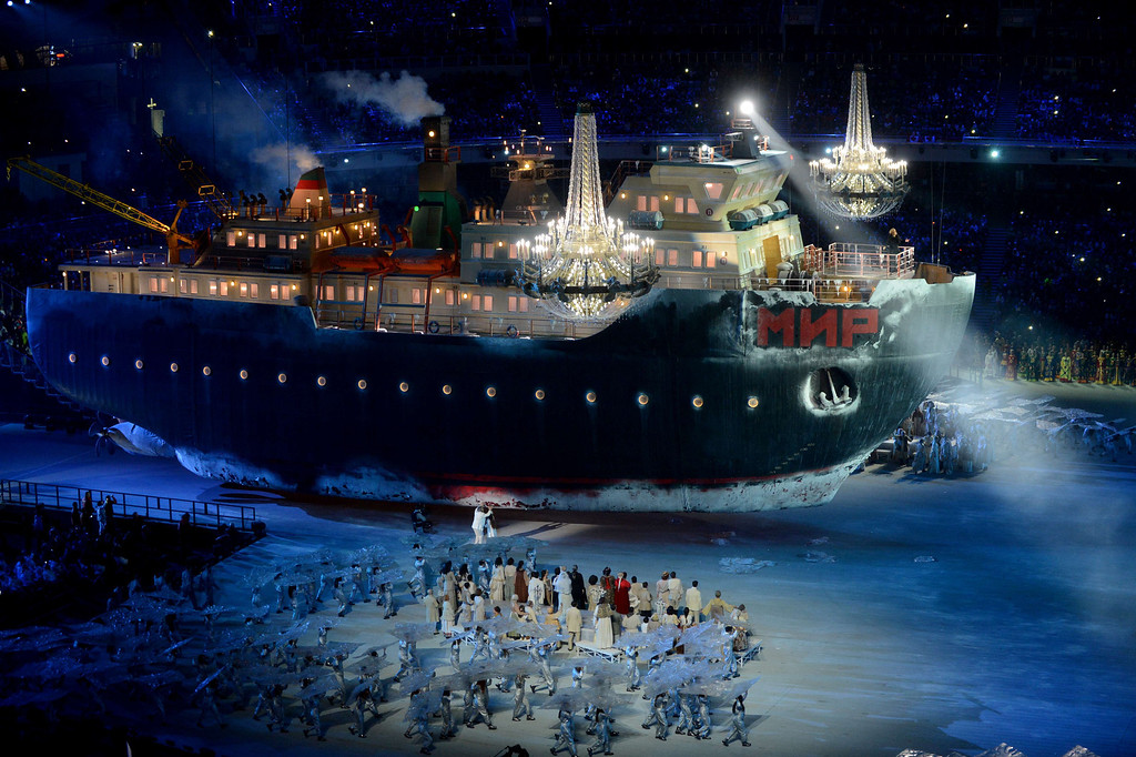 """. Artists perform on a ship called \""""Mir\"""" (peace in Russian) during the Opening Ceremony of XI Paralympic Olympic games at the Fisht Olympic Stadium close to city of Sochi on March 7, 2014. AFP PHOTO/KIRILL KUDRYAVTSEV/AFP/Getty Images"""