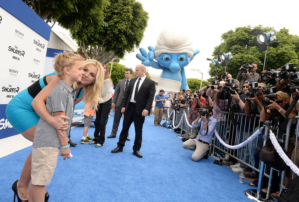 """. Singer Britney Spears and son Sean Federline attend the Los Angeles premiere of \""""The Smurfs 2\"""" at Regency Village Theatre on July 28, 2013 in Westwood, California.  (Photo by Michael Buckner/Getty Images for SONY)"""