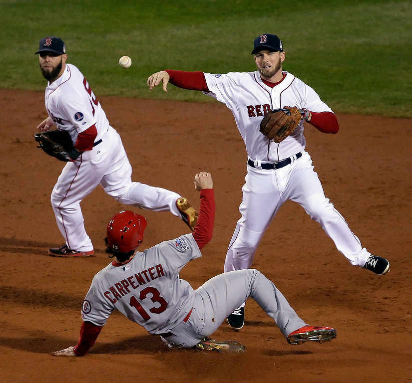 . Boston Red Sox\'s Stephen Drew throws over St. Louis Cardinals\' Matt Carpenter (13) to turn a double play on a ball hit by David Ross during the third inning of Game 6 of baseball\'s World Series Wednesday, Oct. 30, 2013, in Boston. (AP Photo/Chris Carlson)