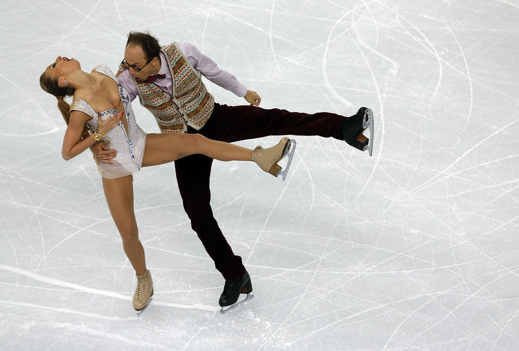 . Germany\'s Alexander Gazsi and Germany\'s Nelli Zhiganshina perform in the Figure Skating Ice Dance Short Dance at the Iceberg Skating Palace during the Sochi Winter Olympics on February 16, 2014.  ADRIAN DENNIS/AFP/Getty Images