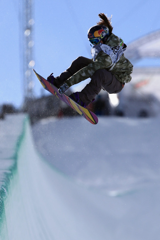 . Arielle Gold in action as she finished fourth in the women\'s snowboard superpipe final at the Dew Tour iON Mountain Championships on December 14, 2013 in Breckenridge, Colorado.  (Photo by Doug Pensinger/Getty Images)