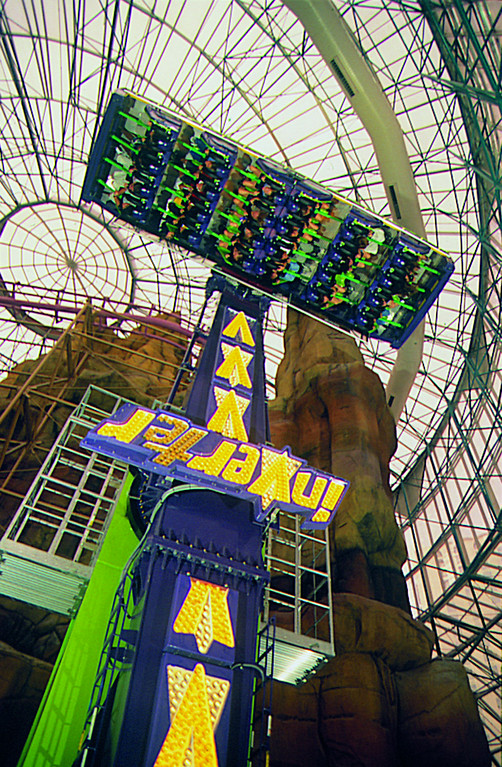 . The Inverter at the 5-acre, glass-domed Adventuredome at Circus Circus hotel in Las Vegas spins riders upside-down. Provided by  MGM Resorts International