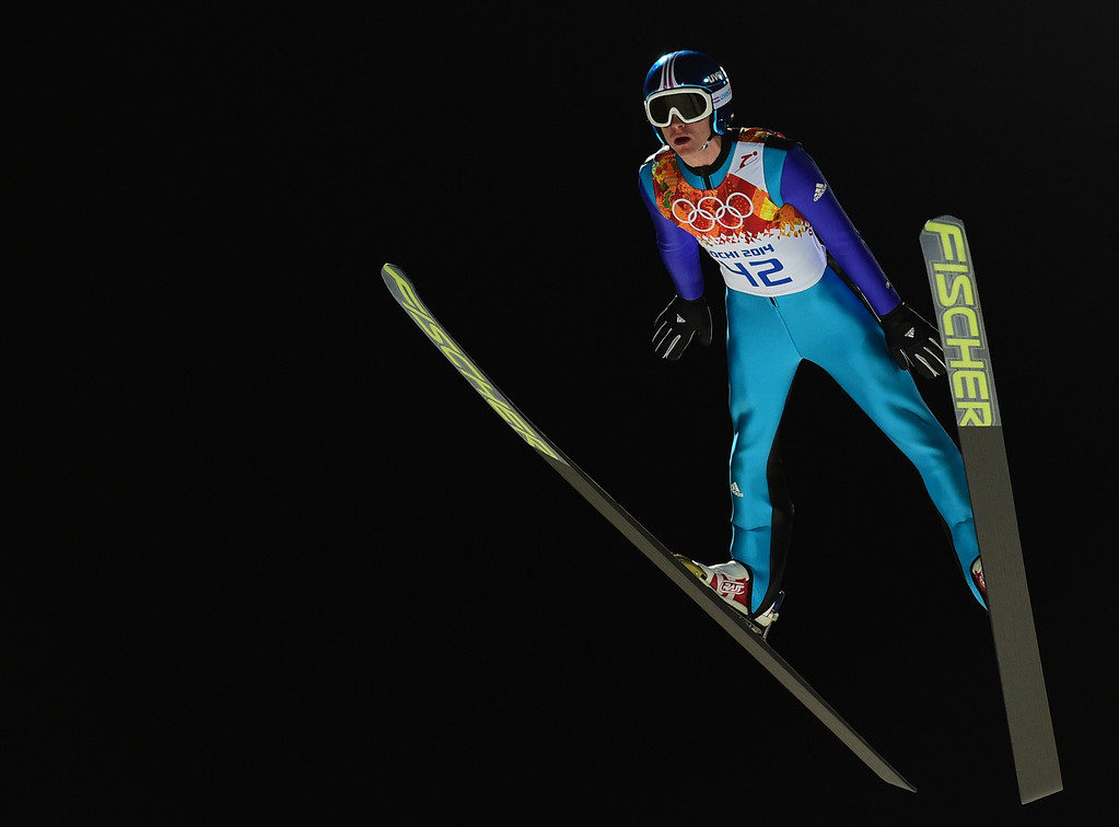 . Germany\'s Richard Freitag competes during the trial jump of the Men\'s Ski Jumping Large Hill Individual qualification at the RusSki Gorki Jumping Center during the Sochi Winter Olympics on February 14, 2014 in Rosa Khutor near Sochi.  AFP PHOTO / JOHN  MACDOUGALL/AFP/Getty Images