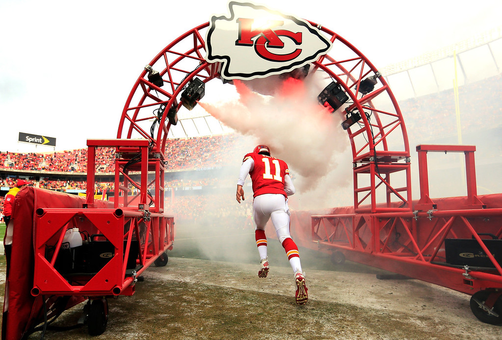 . Quarterback Alex Smith #11 of the Kansas City Chiefs is introduced prior to the game against the San Diego Chargers at Arrowhead Stadium on November 24, 2013 in Kansas City, Missouri.  (Photo by Jamie Squire/Getty Images)