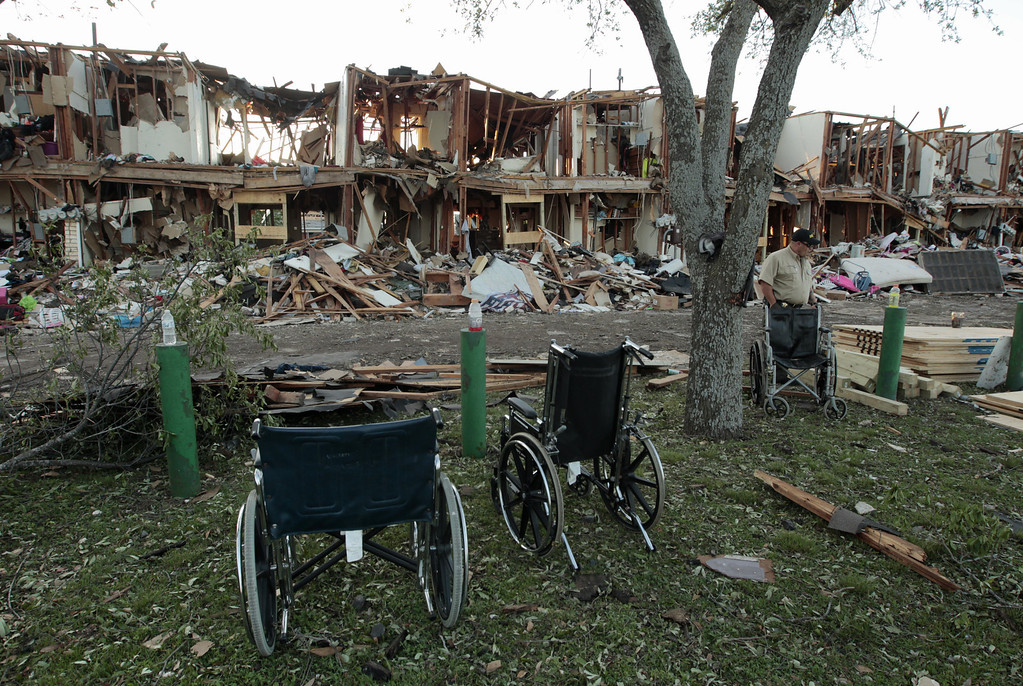 . WEST, TX - APRIL 18: The remains of an apartment complex next to the fertilizer plant that exploded yesterday afternoon on April 18, 2013 in West, Texas. According to West Mayor Tommy Muska, around 14 people, including 10 first responders, were killed and more than 150 people were injured when the fertilizer company caught fire and exploded, leaving damaged buildings for blocks in every direction. (Photo by Erich Schlegel/Getty Images)