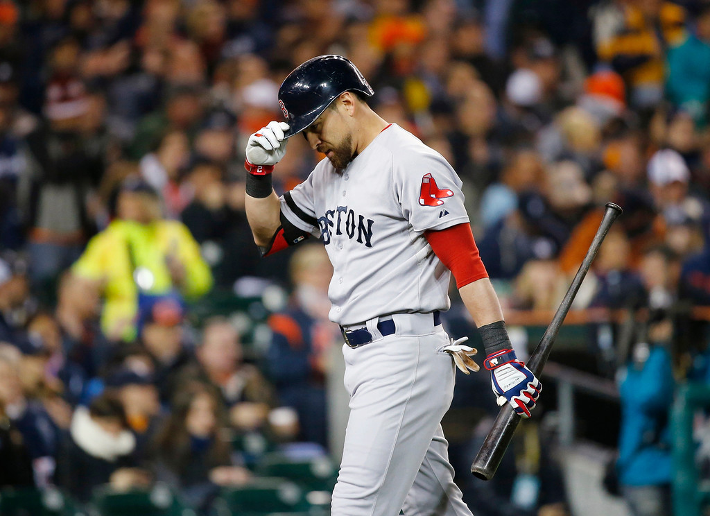 . Boston Red Sox\'s Jacoby Ellsbury walks back to the dugout after striking out in the first inning during Game 5 of the American League baseball championship against the Detroit Tigers, series Thursday, Oct. 17, 2013, in Detroit. (AP Photo/Paul Sancya)