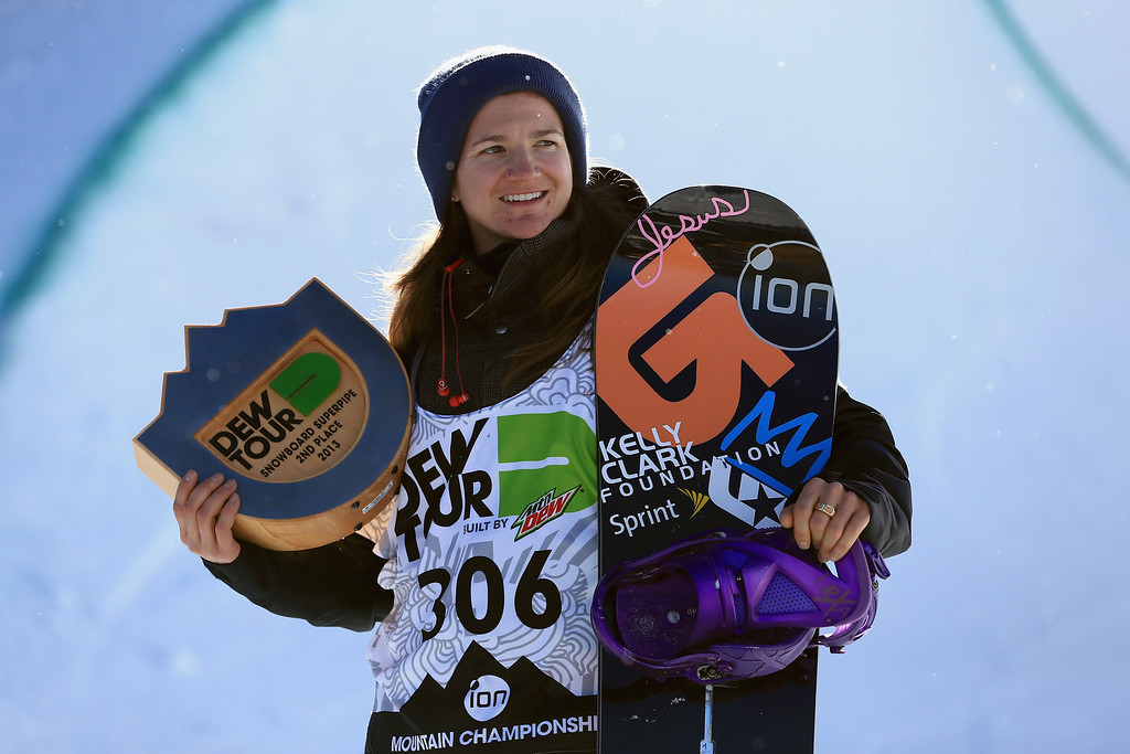 . Kelly Clark takes the podium in second place of the women\'s snowboard superpipe final at the Dew Tour iON Mountain Championships on December 14, 2013 in Breckenridge, Colorado.  (Photo by Doug Pensinger/Getty Images)