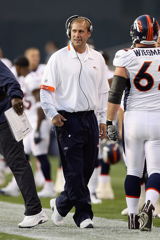. Wide Receivers coach Adam Gase of the Denver Broncos walks on the sidelines during the game against the Seattle Seahawks on August 22, 2009 at Qwest Field in Seattle, Washington. (Photo by Otto Greule Jr/Getty Images)