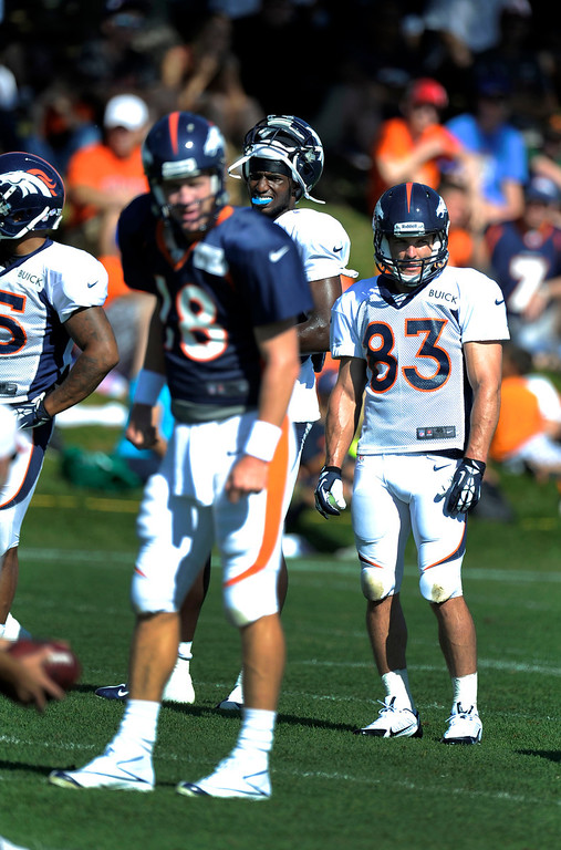 . Denver Broncos WR Wes Welker (83) watches drills during training camp August 13, 2013 at Dove Valley. (Photo By John Leyba/The Denver Post)