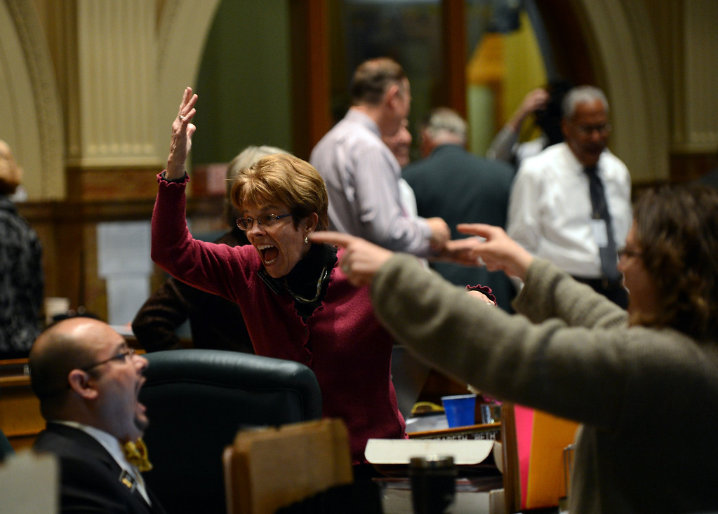 . DENVER, CO. - FEBRUARY 15: Sue Schafer, D-Wheat Ridge, shows emotion after passing the gun control bills at House of Representatives chambers in Colorado State Building February 15, 2013. Denver, Colorado. Members of the Colorado House debate four gun-control bills in the House chamber at the State Capitol on February 15, 2013, in Denver, Colorado. (Photo By Hyoung Chang/The Denver Post)