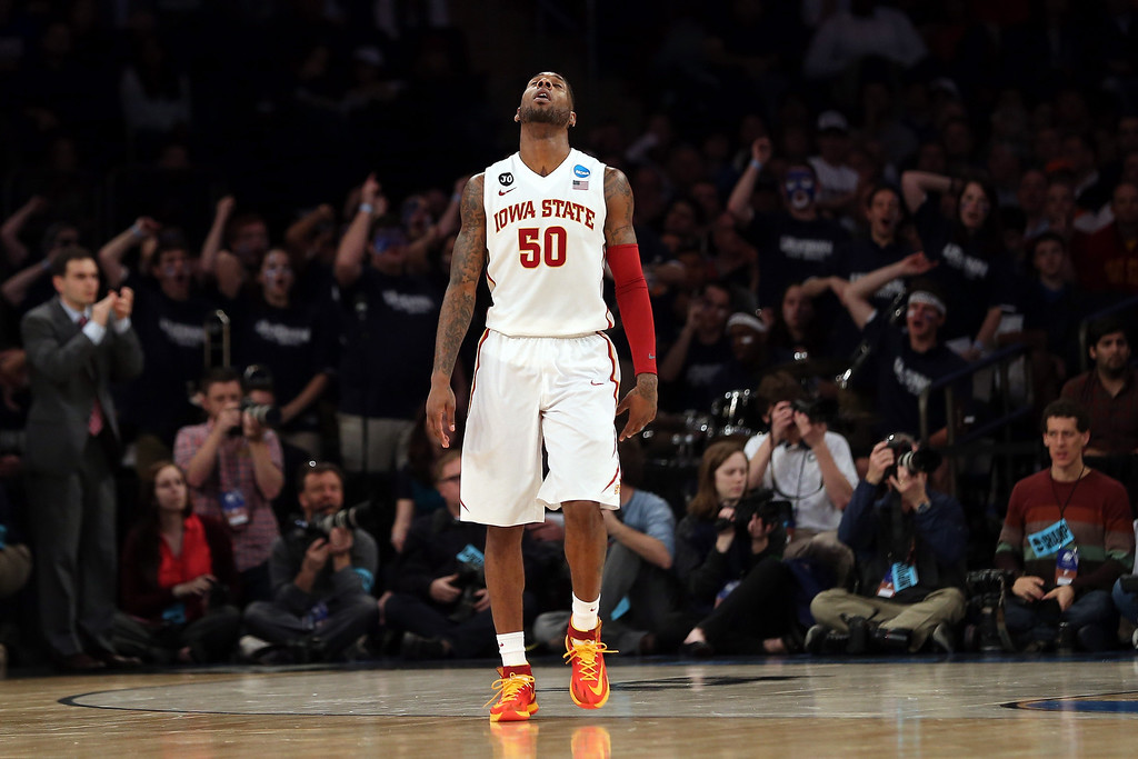 . DeAndre Kane #50 of the Iowa State Cyclones reacts after a play against the Connecticut Huskies during the regional semifinal of the 2014 NCAA Men\'s Basketball Tournament at Madison Square Garden on March 28, 2014 in New York City.  (Photo by Bruce Bennett/Getty Images)