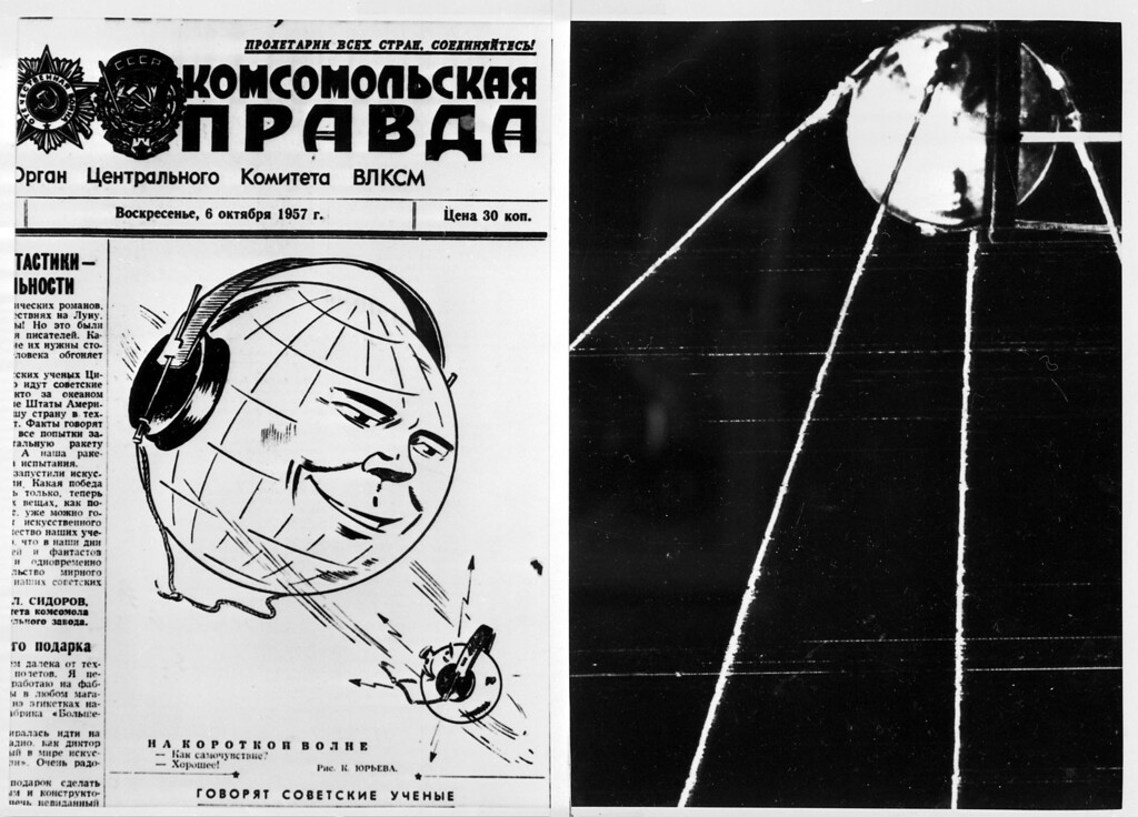 """. MOSCOW, RUSSIA:  Picture dated 06 October 1957 shows the frontpage of the Sovietic newspaper Pravda after the launch of world\'s first satellite. On October 04 1957, the then-Union of Socialist Soviet Republics launched the world\'s first man-made satellite, called Sputnik. It was an event which at one sparked the so-called \""""space-race\"""" and pushed the frontiers of the Cold War outside the Earth\'s atmosphere. (AFP/Getty Images)"""