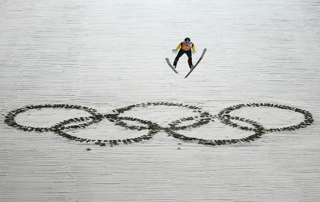 . Andreas Wellinger of Germany jumps during the Men\'s Team Ski Jumping final round on day 10 of the Sochi 2014 Winter Olympics at the RusSki Gorki Ski Jumping Center on February 17, 2014 in Sochi, Russia.  (Photo by Paul Gilham/Getty Images)