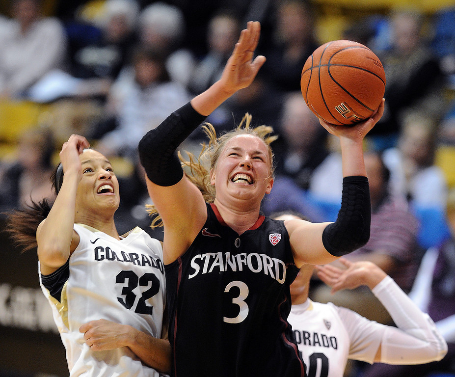 . Mikaela Ruef of Stanford  drives on Arielle Roberson of CU during the first half of the January 12, 2014 game in Boulder. Cliff Grassmick/Daily Camera