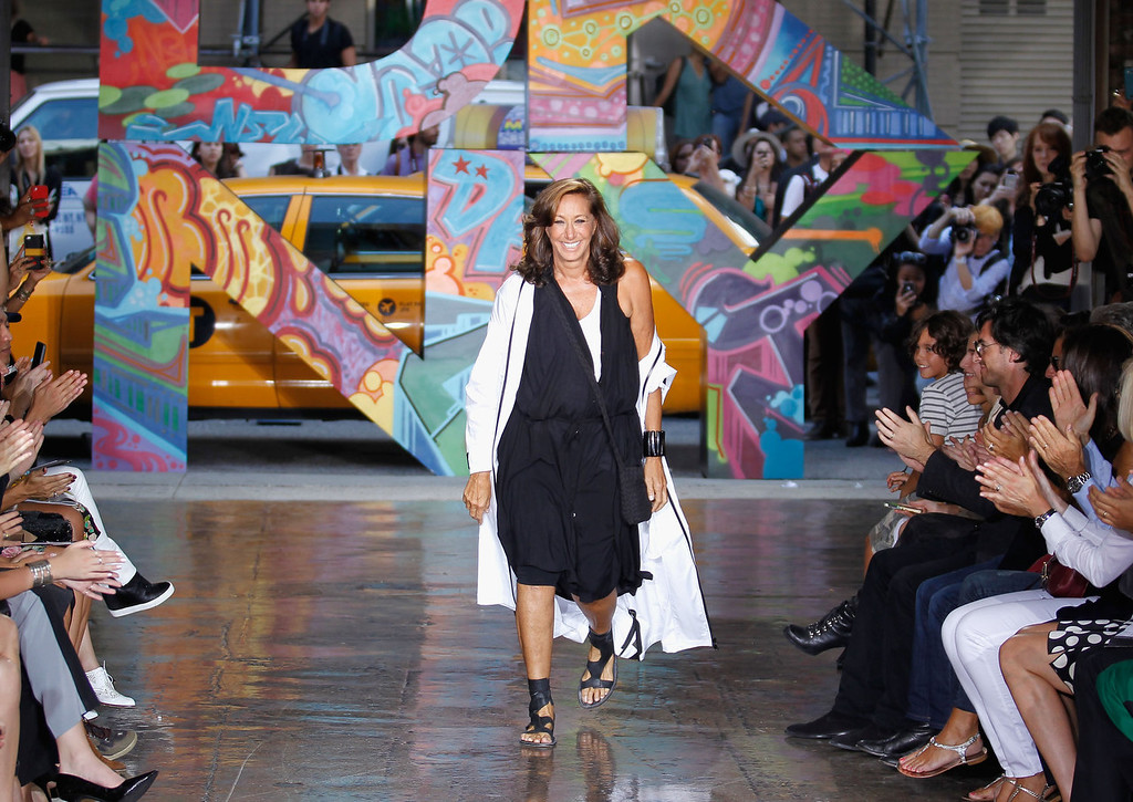. Donna Karen takes a bow on the runway at DKNY Women\'s Spring 2014 fashion show dring Mercedes-Benz Fashion Week Spring 2014 on September 8, 2013 in New York City.  (Photo by Peter Michael Dills/Getty Images)