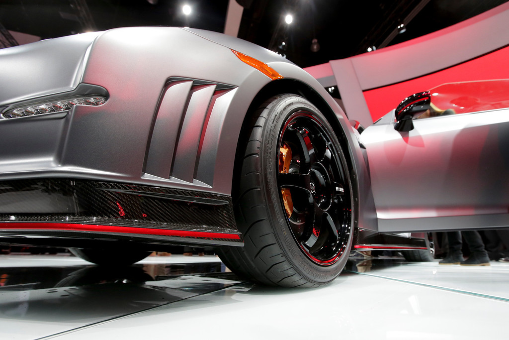 . The 2015 Nissan GT-R is debuted at the Los Angeles Auto Show in Los Angeles, Wednesday, Nov. 20, 2013. (AP Photo/Chris Carlson)