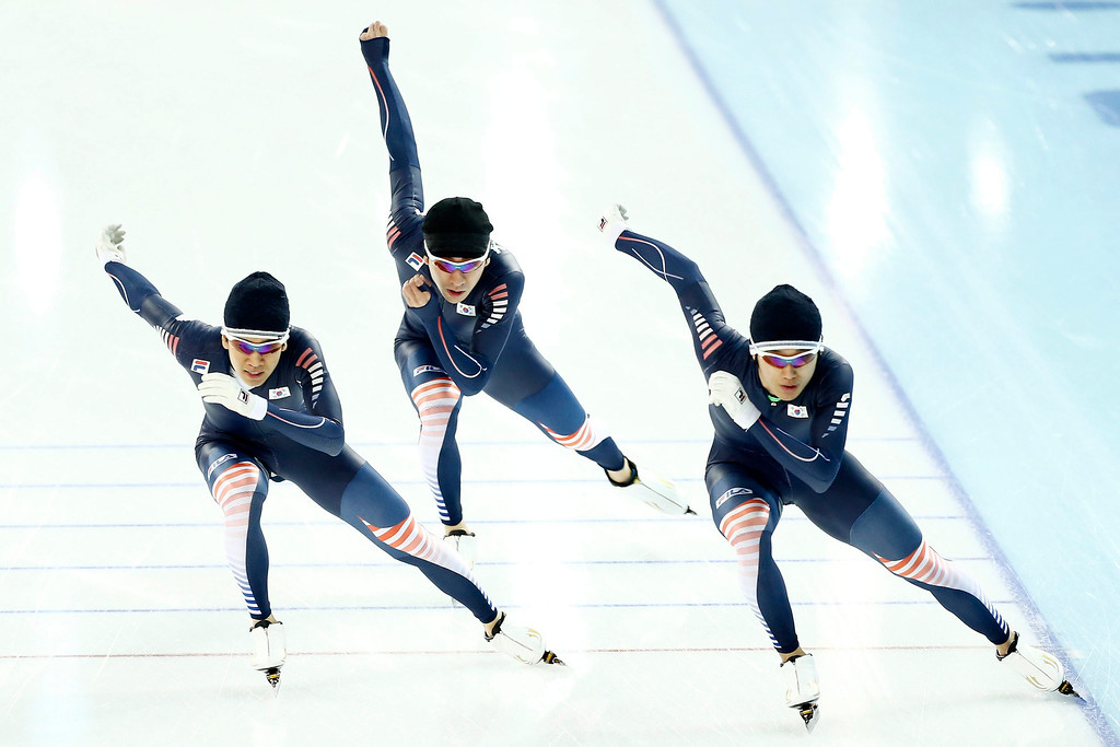 . South Korea skaters Cheol-Min Kim, Kyou-Hyuk Lee and Hyong-Joon Joo during a training session in the Team Pursuit at the Adler Arena at the Sochi 2014 Olympic Games, Sochi, Russia, 20 February 2014.  EPA/VINCENT JANNINK