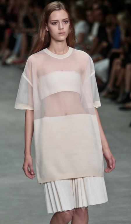 . Fashion from the Calvin Klein Spring 2014 collection is modeled on Thursday, Sept. 12, 2013 in New York.  (AP Photo/Bebeto Matthews)