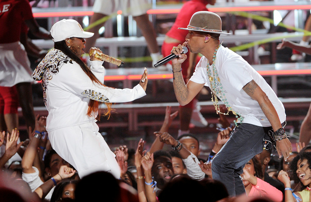 . Missy Elliott, left, and Pharrell Williams perform at the BET Awards at the Nokia Theatre on Sunday, June 29, 2014, in Los Angeles. (Photo by Chris Pizzello/Invision/AP)