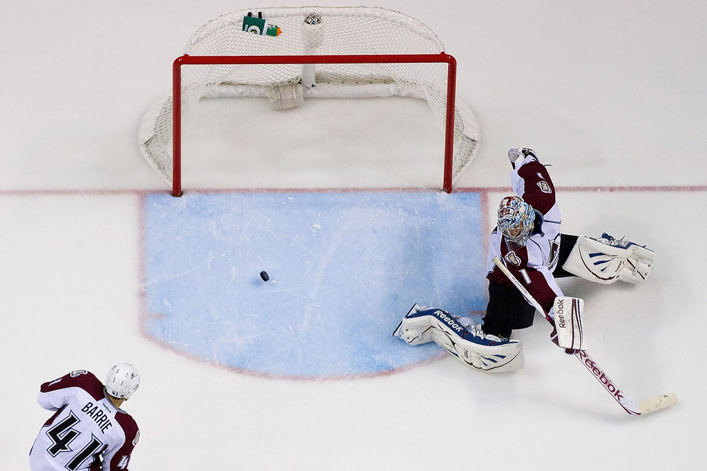 . ST. LOUIS, MO - APRIL 23: Semyon Varlamov #1 of the Colorado Avalanche makes a save against the St. Louis Blues during the second period at the Scottrade Center on April 23, 2013 in St. Louis, Missouri.  The Blues beat the Avalanche 3-1 to clinch a play-off birth.  (Photo by Dilip Vishwanat/Getty Images)