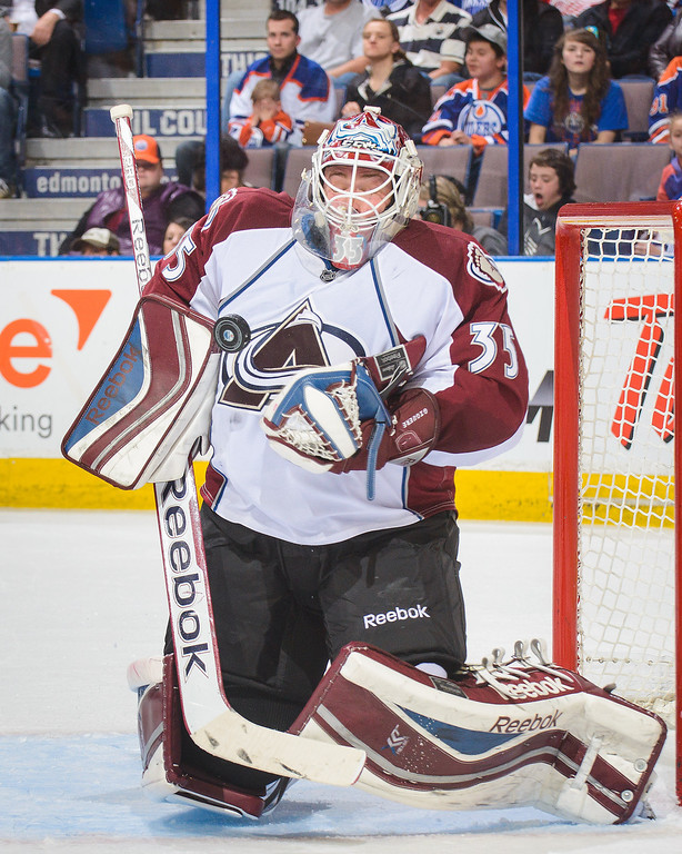 . Jean-Sebastien Giguere #35 of the Colorado Avalanche makes a save against the Edmonton Oilers during an NHL game at Rexall Place on April 8, 2014 in Edmonton, Alberta, Canada. (Photo by Derek Leung/Getty Images)