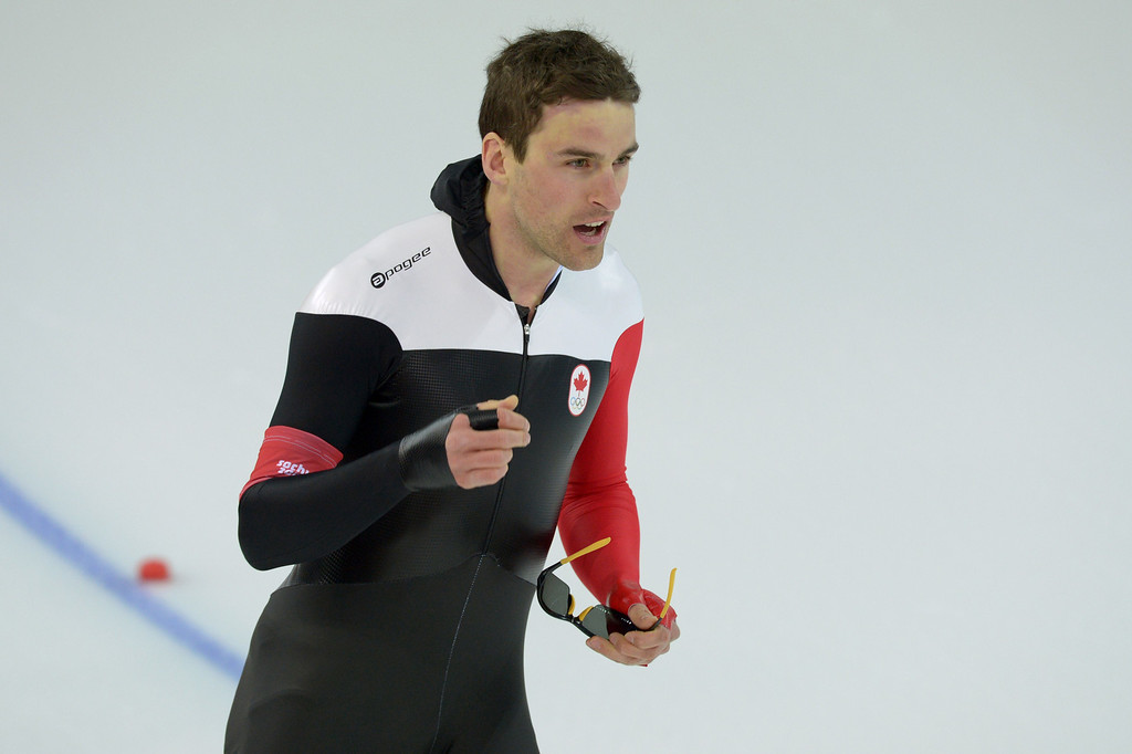 . Canada\'s Denny Morrison reacts after the Men\'s Speed Skating 1500 m at the Adler Arena during the Sochi Winter Olympics on February 15, 2014.   DAMIEN MEYER/AFP/Getty Images