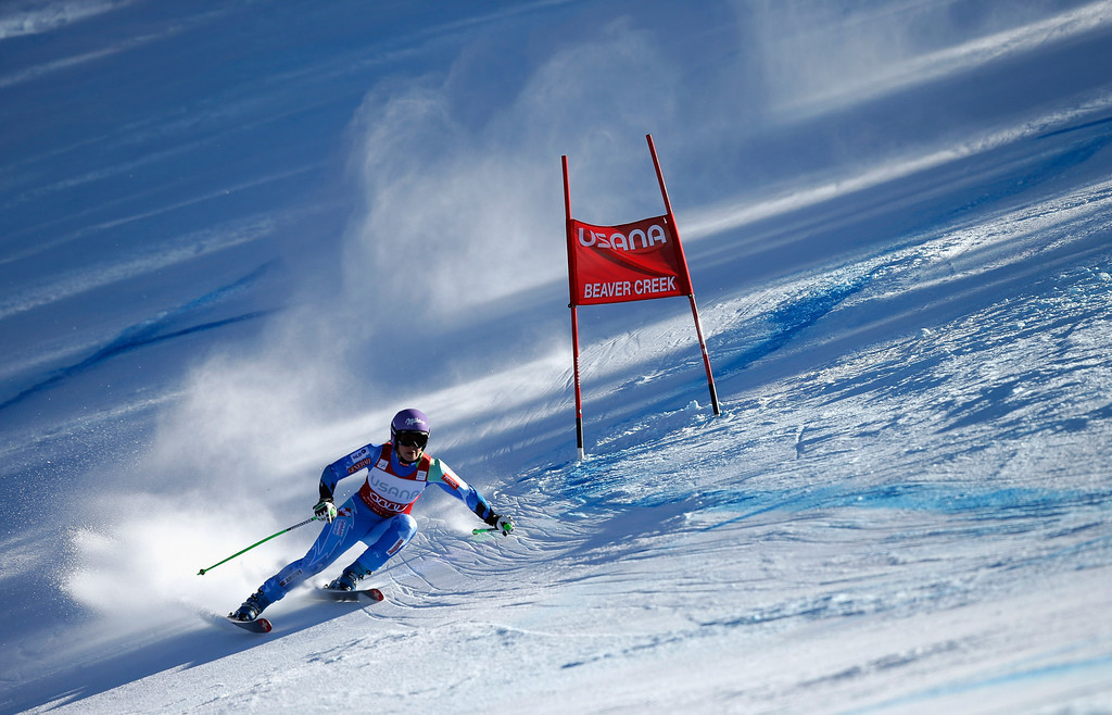 . Tina Maze of Slovokia in action during the FIS Beaver Creek Ladies\' Super G World Cup Race on November 30, 2013 in Beaver Creek, Colorado.  (Photo by Ezra Shaw/Getty Images)