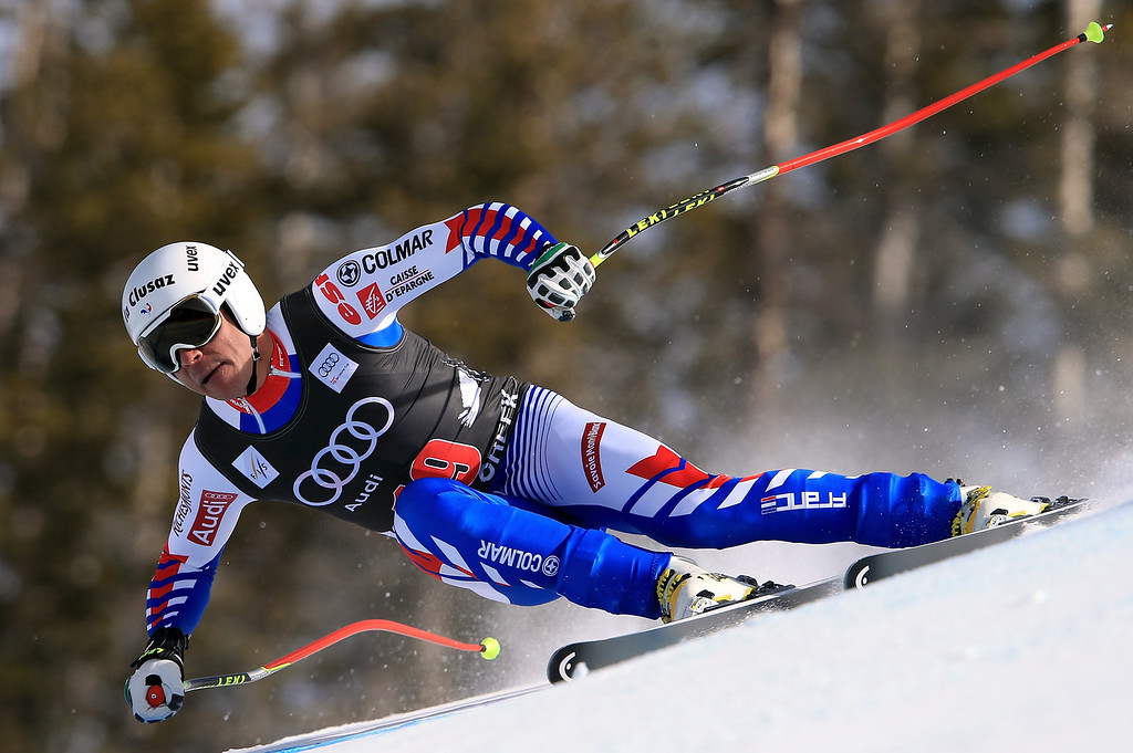 . Johan Clarey of France skis to seventh place in the men\'s downhill on the Birds of Prey at the Audi FIS World Cup on November 30, 2012 in Beaver Creek, Colorado.  (Photo by Doug Pensinger/Getty Images)